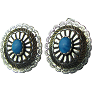 Sterling & Turquoise Concho SW Style Post Earrings, 5 Grams
