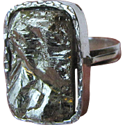 Artisan Sterling & Pyrite Ring, Size 7 3/4, 10 grams