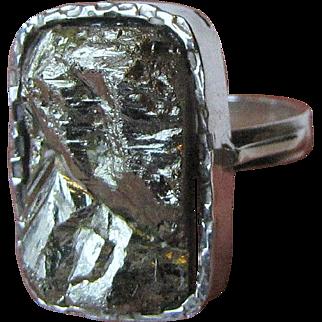 Artisan Sterling & Pyrite Ring, Size 7 3/4, 10 grams