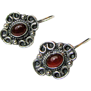 Vintage Mexican Sterling Carnelian Pierced Earring, 9 grams