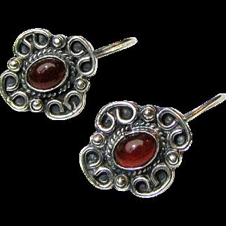 Vintage Mexican Sterling Carnelian Pierced Earring, 9 grams