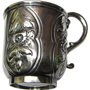 1860's J.E. Caldwell Coin Silver Cup w/ Repousse & Chased Flowers, 134 grams