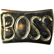 "Fun Vintage Cast Brass ""BOSS"" Paperweight"