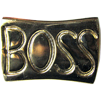 """Fun Vintage Cast Brass """"BOSS"""" Paperweight"""