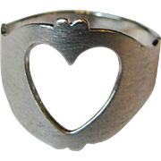 Cute Vintage Beau Sterling Heart Ring, Size 7, 3 grams