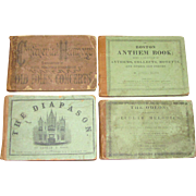 1837-1860, Four Music Books - The Boston Anthem Book, The Continental Harmony, The Diapason, The Odeon; Leather Spine with Printed Paper Over Boards