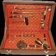 Mid-Century Modern Bar Cocktail Set, 9-Piece, Rosewood Handle & Gilt Brass Tools in Original Teak Box