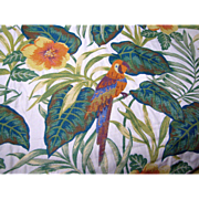 "54"" Remnant of Heavy & Exotic Large Scale Parrot Themed Fabric"