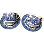2 Churchill Blue Willow Cup & Saucer Sets (up to 4 sets available)