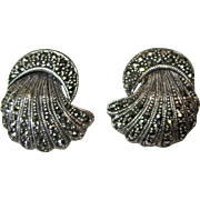 Art Deco Style Sterling Marcasite Shell Shaped Earrings