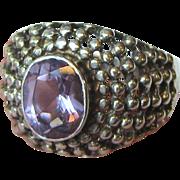 Stylish Caviar Lattice Dome Amethyst Ring, Size 8, 7 grams