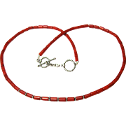 "24"" Bamboo Coral Necklace w/ Sterling Rope Clasp"
