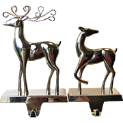 Chrome Pair of Christmas Stocking Hanger / Holder, Stag and Doe