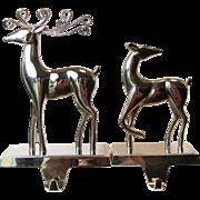 Chrome Pair of Christmas Stocking Hanger / Holder, Stag and Doe