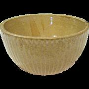 Vintage Hand Made Stoneware Pottery Ribbed Round Bowl, Baige Alkaline Glaze, OSI 4406 z SC