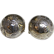Early 1900s Chinese Export Silver Engraved Clipback Earrings, 14 grams
