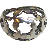 Pretty Beau Sterling Filigree Dome Ring, Adjustable Band, 6 grams