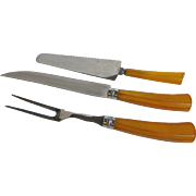 3 pc Bakelite Carving Set, Stainless Steel Blades
