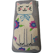 Needlepoint Spectacle Case, Cute Kitty, Zippered
