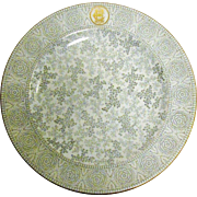 1889, Royal Worcester Transfer Ware Dinner Plate, Floral and Leaf Chintz, Bone China, Near Mint