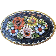Large Vintage Micromosaic Pin, Pretty Florals!