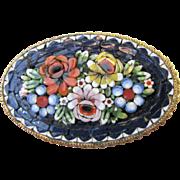 Large Vintage Micromosaic Pin, Pretty Florals!