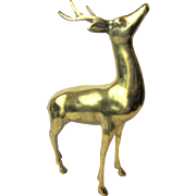 "Large 12"" Solid Brass Reindeer, Perfect for Christmas Decor"