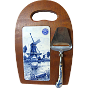 Hand Painted Delft Wooden Cheese Board w/ Knife