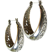 Lovely Sterling Filigree Wide Hoop Earrings, 10 grams