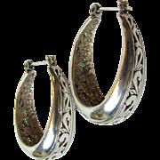 Lovely Sterling Filigree Wide Hoop Earrings, 10 grams