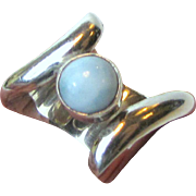 Modernist Marahlago Larimar Ring, Size 8 1/4, 14 grams