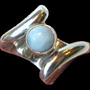 Modernist Marahlago Larimar Ring, Size 8 1/4, 14 grams