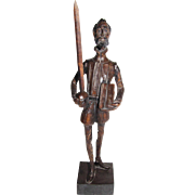 Hand Carved Walnut Don Quixote Sculpture, OURO Artesania of Spain