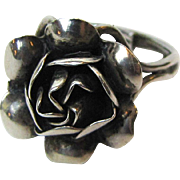 Vintage Mexico Sterling Rose Ring, Size 8 Adjustable, 5 grams