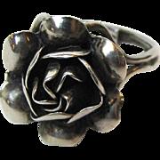 Vintage Mexico Sterling Rose Ring, Size 8 Adjustable, 5 grams