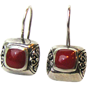 Sterling Filigree Pierced Earrings w/ Coral Colored Cab, 5 grams