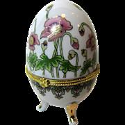 Art Nouveau Style Porcelain Egg Trinket Box