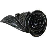 Huge Art Deco Noir Bakelite Deeply Carved Rose Dress Clip