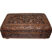 Exquisite Antique Hand Carved Kashmiri Sandalwood Box
