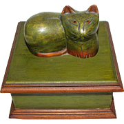 Super Folk Art Carved Cat Box, Coolest Kitty!