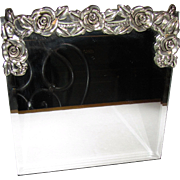 Silver Metal Rose Dressing Table Mirror, Beveled, Like New