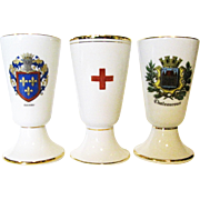 Three Vintage Porcelain Limoges Wine Goblets by Valade or Patesetemaux De Llimoges, Near Mint