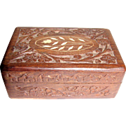 Small Carved Teak Trinket Box w/ Bone Inlay