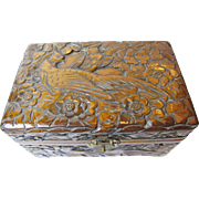 Ornately Carved Wood Box with Birds of Paradise