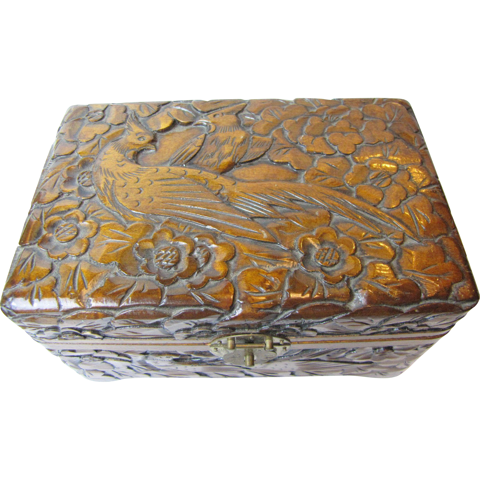 Ornately Carved Wood Box With Birds Of Paradise From