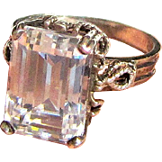 Emerald Cut CZ Sterling Filigree Ring, Size 8, 9 grams