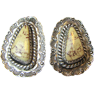 Beautiful Navajo Sterling White Buffalo Turquoise Earrings, 12 grams