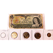 Indian Head Nickle, Roosevelt Dime, Three George Washington Dollars and Canadian Dollar