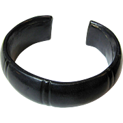 Elegant Black Leather Cuff Bracelet