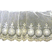 "50"" Length of Early Cotton Net Lace for Doll Dresses"